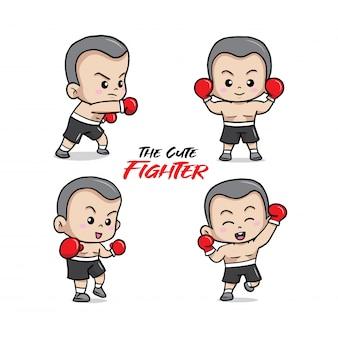 La ilustración linda del pequeño luchador