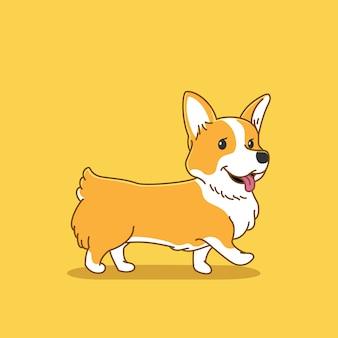 Ilustración linda del perro corgi