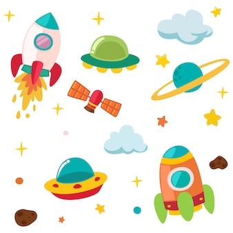 Ilustración linda del planeta y el cohete
