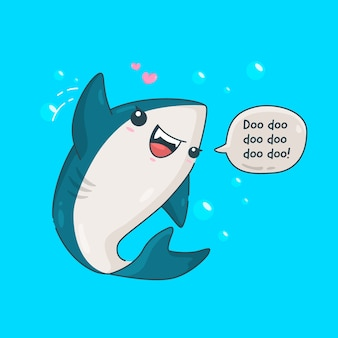 Ilustración linda del tiburón bebé