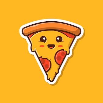 Ilustración linda del vector de la mascota de la pizza. pizza etiqueta de dibujos animados