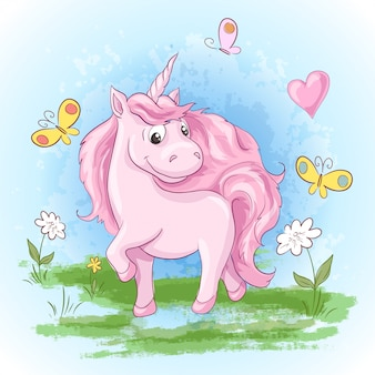 Ilustración de lindas flores y mariposas de unicornio
