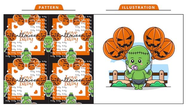 Ilustración de lindo bebé frankenstein en el día de halloween con patrón decorativo sin costuras