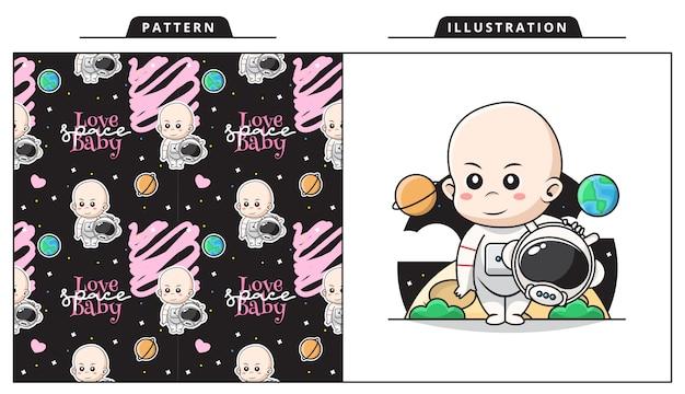 Ilustración de lindo bebé con traje de astronauta en el espacio con patrón decorativo sin costuras