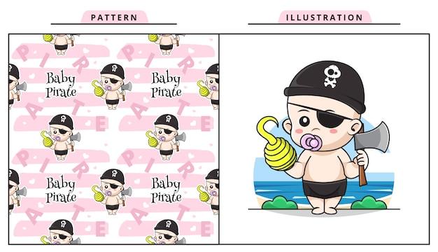 Ilustración de lindo bebé con traje de pirata y sosteniendo un hacha con patrón decorativo sin costuras