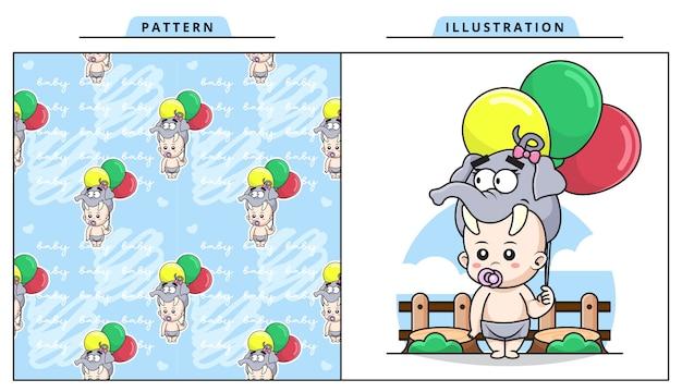 Ilustración de lindo bebé vistiendo traje de elefante y sosteniendo ballon con patrón decorativo sin costuras