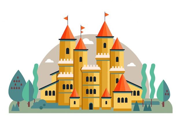Ilustración de un lindo castillo rosa
