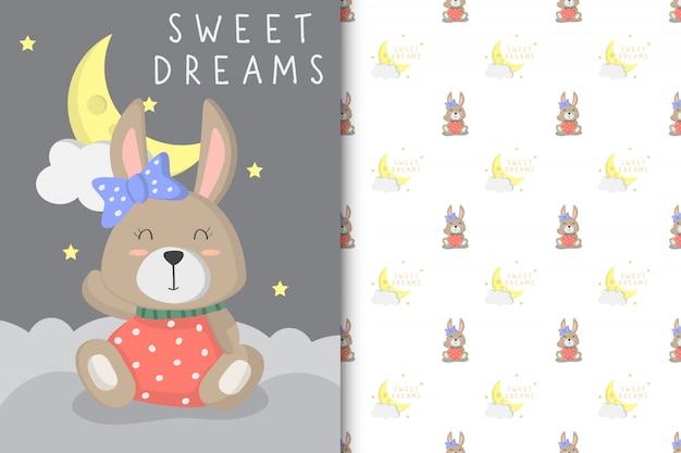 Ilustración de lindo conejito bebé con patrón transparente