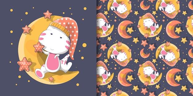 Ilustración de lindo dino con luna y patrón