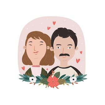 Ilustración de lindo diseño de cara linda pareja amorosa