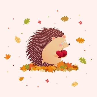Ilustración de lindo erizo sosteniendo dos manzanas en la temporada de otoño.
