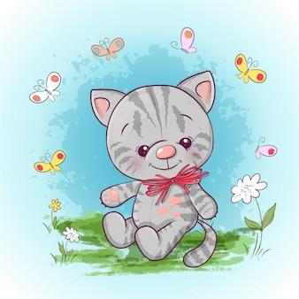 Ilustración de un lindo gato pequeño con flores y mariposas. estampado para ropa o habitación infantil.