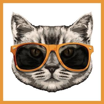 Ilustración de un lindo gato en tonos amarillos.
