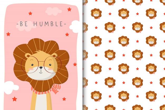 Ilustración de lindo león con patrones sin fisuras