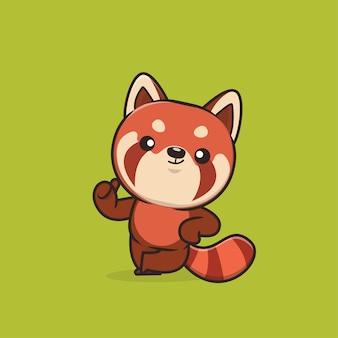 Ilustración de lindo panda rojo animal