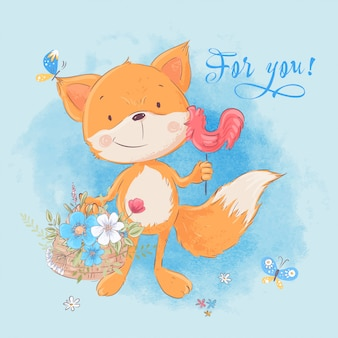 Ilustración de lindo pequeño zorro y flores. estilo de dibujos animados vector