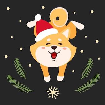 Ilustración con lindo shiba inu en sombrero de santa aislado en blanco. perro de japón de dibujos animados coloridos con ramas de árboles de navidad y copos de nieve