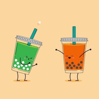 Ilustración de lindo té de burbujas kawaii