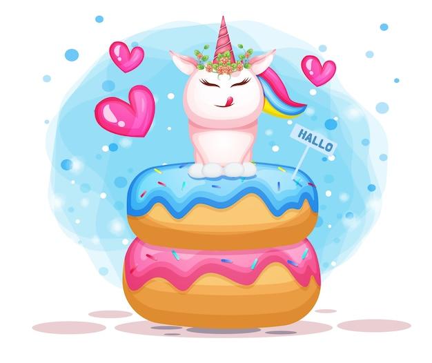 Ilustración de lindo unicornio en dibujos animados de doble donut.