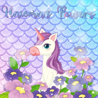 Ilustración con lindo unicornio en escamas de pez arco iris