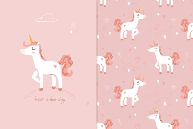Ilustración lindo unicornio de patrones sin fisuras