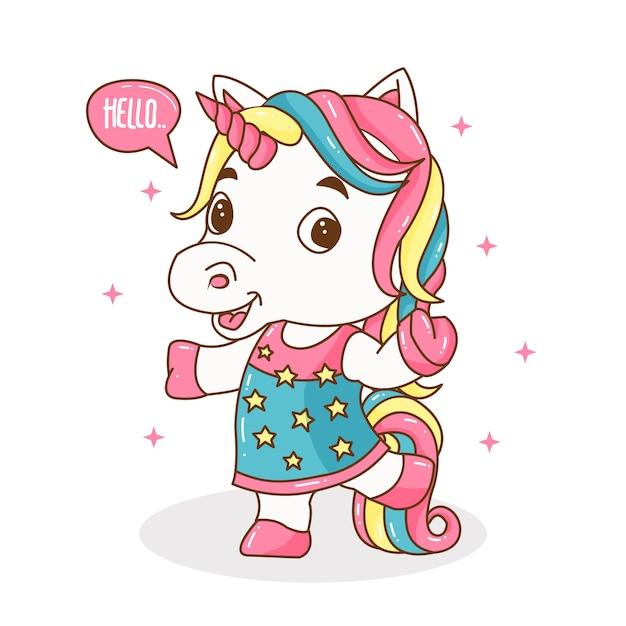 Ilustración de lindo unicornio pequeño