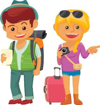 Ilustración lindo del vector de la pareja del viajero