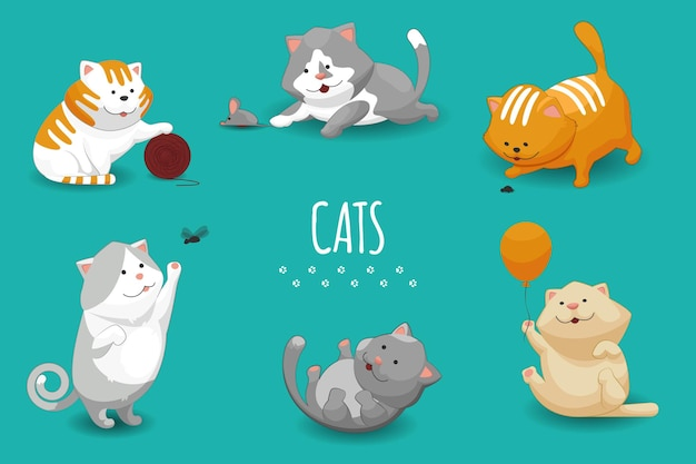 Ilustración de lindos gatitos. conjunto de gato y gatos domésticos jugando.