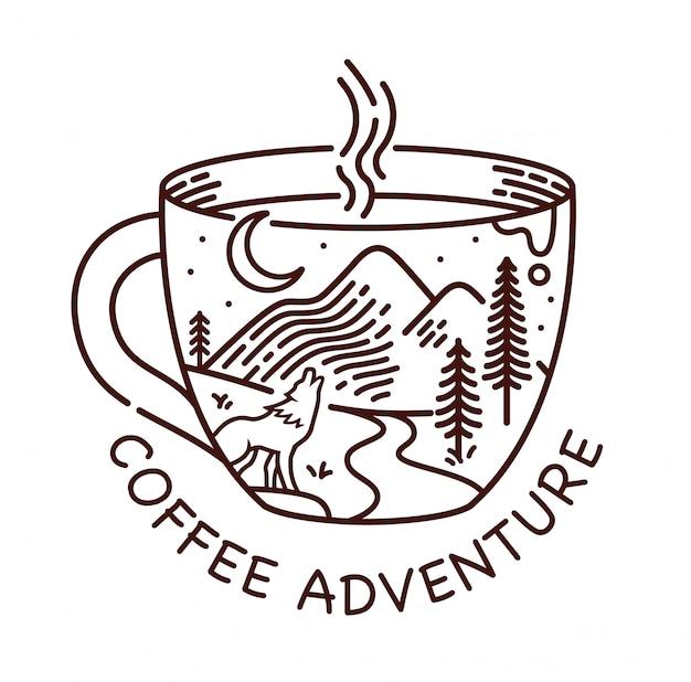 Ilustración de línea de aventura de café