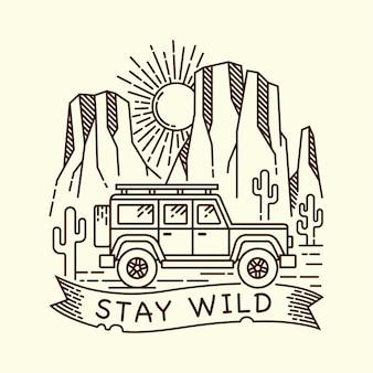 Ilustración de línea de aventura en el desierto