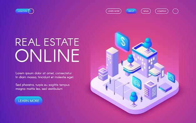 Ilustración en línea de bienes raíces de la ciudad inteligente conectado a la comunicación inalámbrica.
