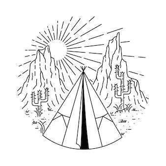 Ilustración de línea de campamento indio