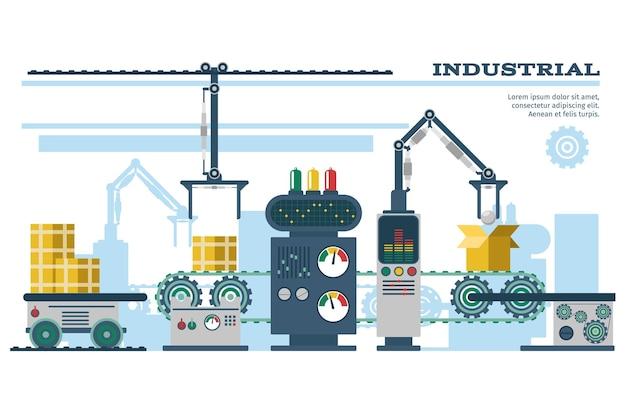Ilustración de línea de cinta transportadora industrial.