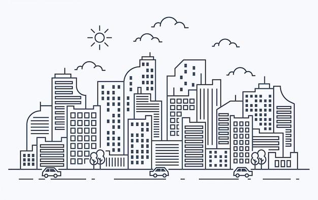 Ilustración de línea de la ciudad con coche