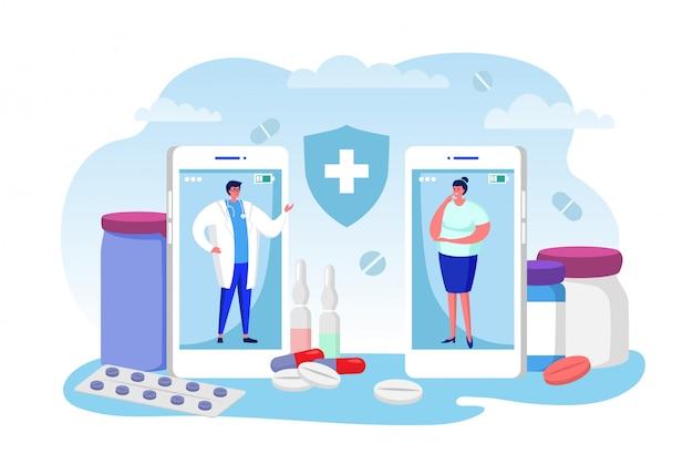 Ilustración en línea de consulta médica, personaje de paciente de mujer de dibujos animados, llame al médico para consultar, usando la videollamada en el teléfono inteligente