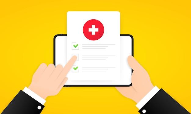 Ilustración en línea de encuesta médica