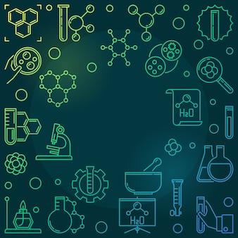Ilustración de línea en espiral de química con marco redondo