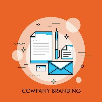 Ilustración de línea fina de marca de estilo corporativo