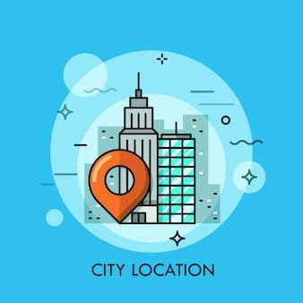 Ilustración de línea fina de paisaje de gran ciudad