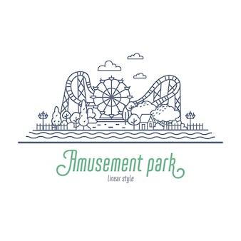 Ilustración de línea fina de parque de atracciones