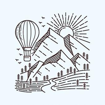 Ilustración de línea de globo de aire caliente