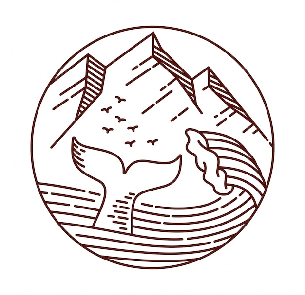 Ilustración de línea de grandes olas