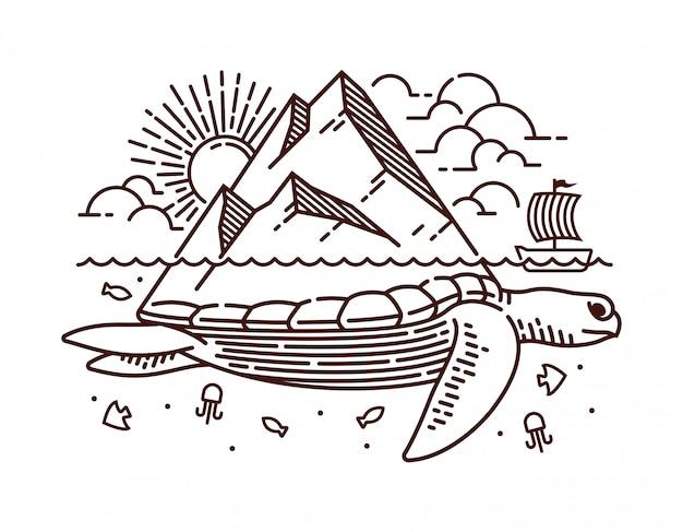 Ilustración de línea de isla tortuga