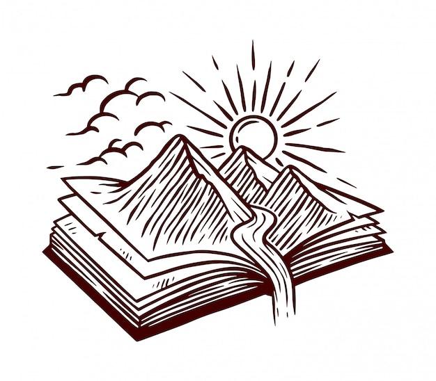 Ilustración de línea de libro de naturaleza