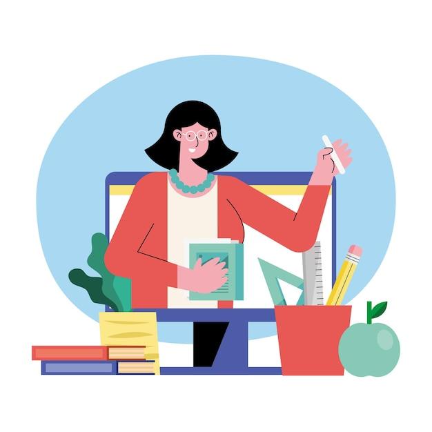 Ilustración en línea de maestra