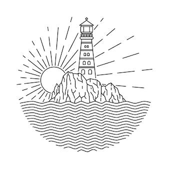 Ilustración de línea de mar faro