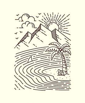 Ilustración de línea de mar