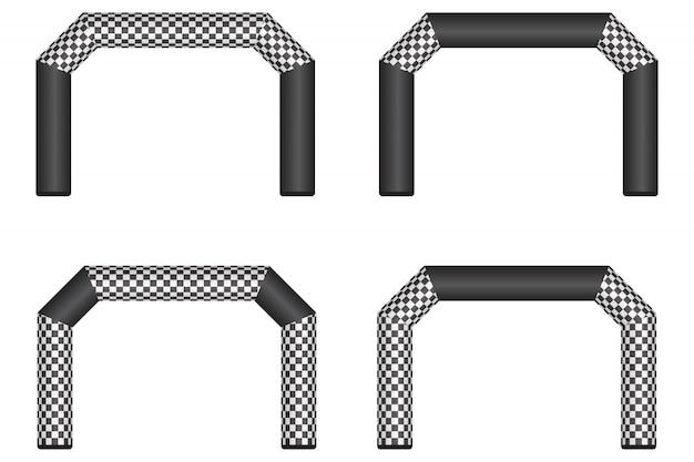 Ilustración de línea de meta inflable aislado en blanco