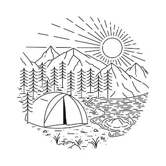Ilustración de línea de montaña camping senderismo