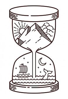 Ilustración de línea natural de reloj de arena